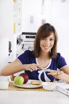 Free Breakfast Of Young Woman Stock Image - 16895281
