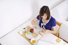 Free Breakfast Of Young Woman Stock Images - 16895304