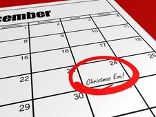 Calendar Christmas Eve Stock Image