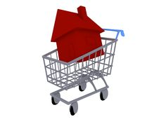 Free House In A Shopping Cart Royalty Free Stock Image - 16895816
