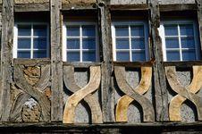 Four Windows At A Carcass House Stock Photo