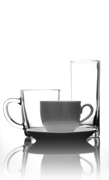 Free Cup Of Coffee And Glass Royalty Free Stock Photo - 16896235