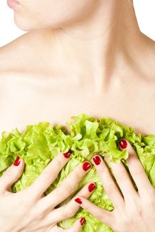 Woman Hold Leaf Lettuce On Her Chest Stock Image