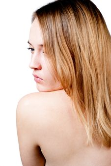 Woman With Long Hair And Naked Back Stock Image