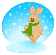 Little Toy Bunny In Scarf Royalty Free Stock Image
