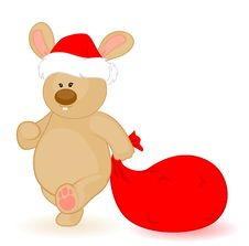 Free Bunny In The Cap Of Santa Claus Royalty Free Stock Photography - 16896567