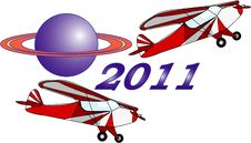 Free Two Airplane  New Year Royalty Free Stock Image - 16897376