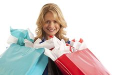 Close-up Of Woman With Shopping Bags Royalty Free Stock Photo