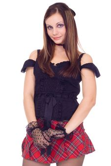 Free Gothic Girl In Mini Skirt With Hat Royalty Free Stock Photo - 16897985