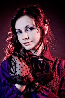 Free Portrait Of A Goth Girl In A Gray Backgorund Stock Photography - 16898012
