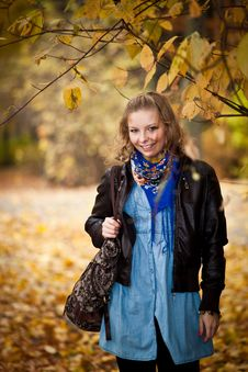 Free Girl In Autumn Park Royalty Free Stock Photo - 16898095