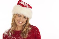 Free Portrait Of Woman In Santa Hat Stock Photo - 16898310