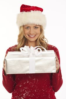 Free Woman In Santa Hat Holding Gift Stock Images - 16898344