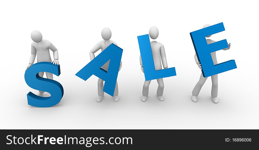 Sale text holding by men
