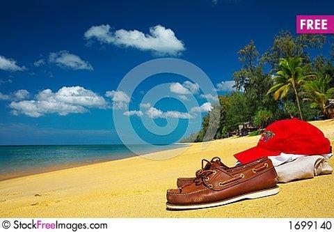 mocs on the beach Stock Photo