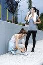 Free Female Athletes Taking A Rest Stock Image - 16904881
