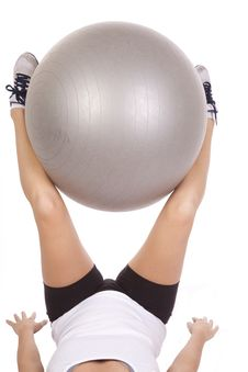 Free Holding Fitness Ball With Legs Royalty Free Stock Image - 16900016