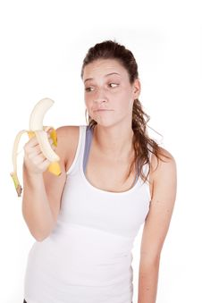 Not Sure About Eating Banana Royalty Free Stock Image