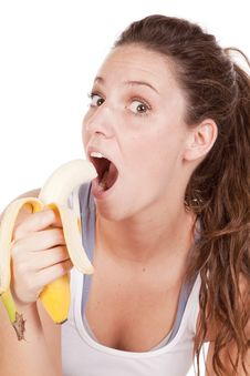 Free Woman Excited About Eating A Banana Close Up Stock Images - 16900054