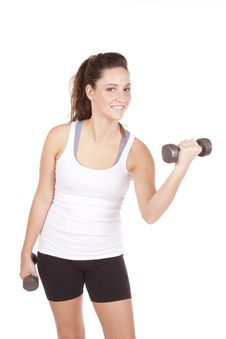 Woman White Tank Lifting Weight Stock Images