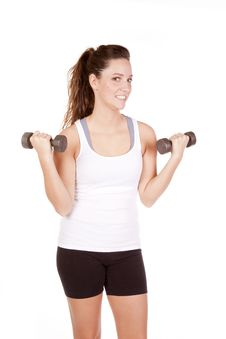 Free Woman White Tank Top With Weights Up Royalty Free Stock Image - 16900086