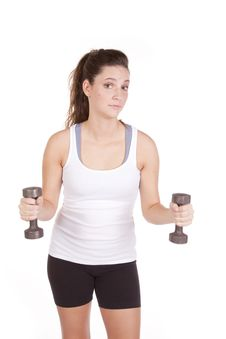 Woman White Tank Working With Weights Stock Photo
