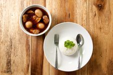 Free Pork Stew With Egg And Rice. Royalty Free Stock Photography - 16901517