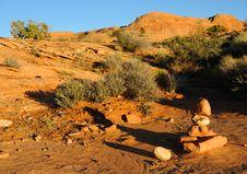 Free Rock Cairn On Desert Trail Stock Photos - 16901563