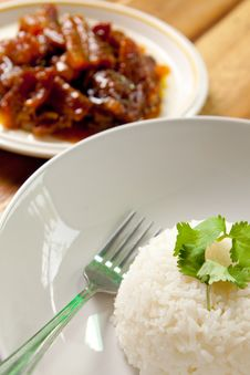 Roast Pork With Rice. Royalty Free Stock Images