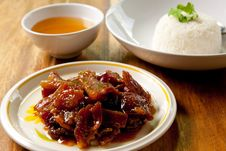 Roast Pork With Rice And Soup. Stock Image