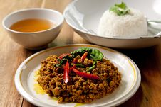 Free Spicy Pork Basil With Rice. Stock Photo - 16903680