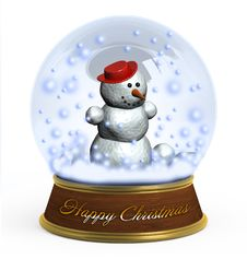 Free Christmas Snow Globe On White Background Stock Image - 16904551