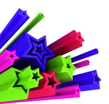 3d Illustration Of Colored Stars Stock Photo