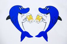 Two Shark Drink Beer. Royalty Free Stock Photo