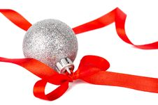 Free Christmas Silver Ball With Red Ribbon Stock Images - 16906414