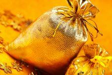 Free Two Golden Gift Sacks Stock Image - 16906461