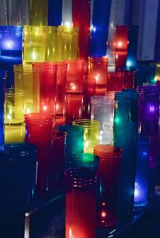 Colored Votive Candles Royalty Free Stock Images