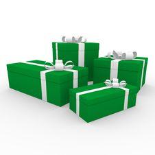 Free 3d Green White Gift Box Stock Photos - 16906633