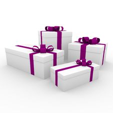 Free 3d Pink White Gift Box Stock Photography - 16906722