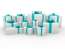 Free 3d Gift Box Green Blue White Stock Photography - 16906812