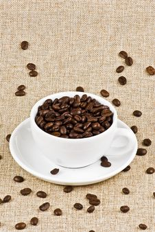 Free Cup Of Coffee Beans Royalty Free Stock Photo - 16906865