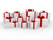 Free 3d Red White Gift Box Royalty Free Stock Photography - 16907077