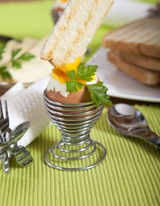 Free Dipping Roasted Toast In Soft Boiled Egg Royalty Free Stock Image - 16907296
