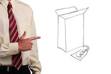 Man Pointing At A Box Stock Photography