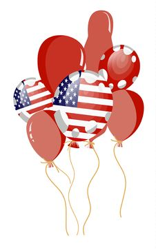 Red Balloon Of American Flag Stock Image