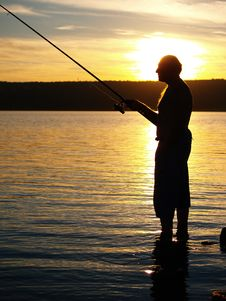 Free Fisherman In Sunset Stock Photography - 16908662