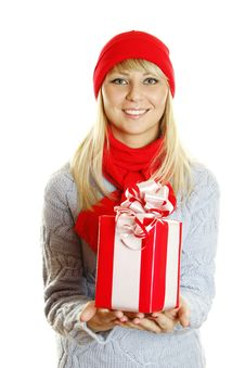 Free Girl Holding Gift Box Royalty Free Stock Photos - 16909868