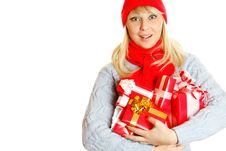 Free Woman Holding Many Gift Boxes Royalty Free Stock Photo - 16909915