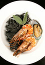 Free Seafood With Black Pasta Stock Photos - 16911813