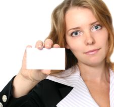 Young Businesswoman Holding Blank Card Royalty Free Stock Image